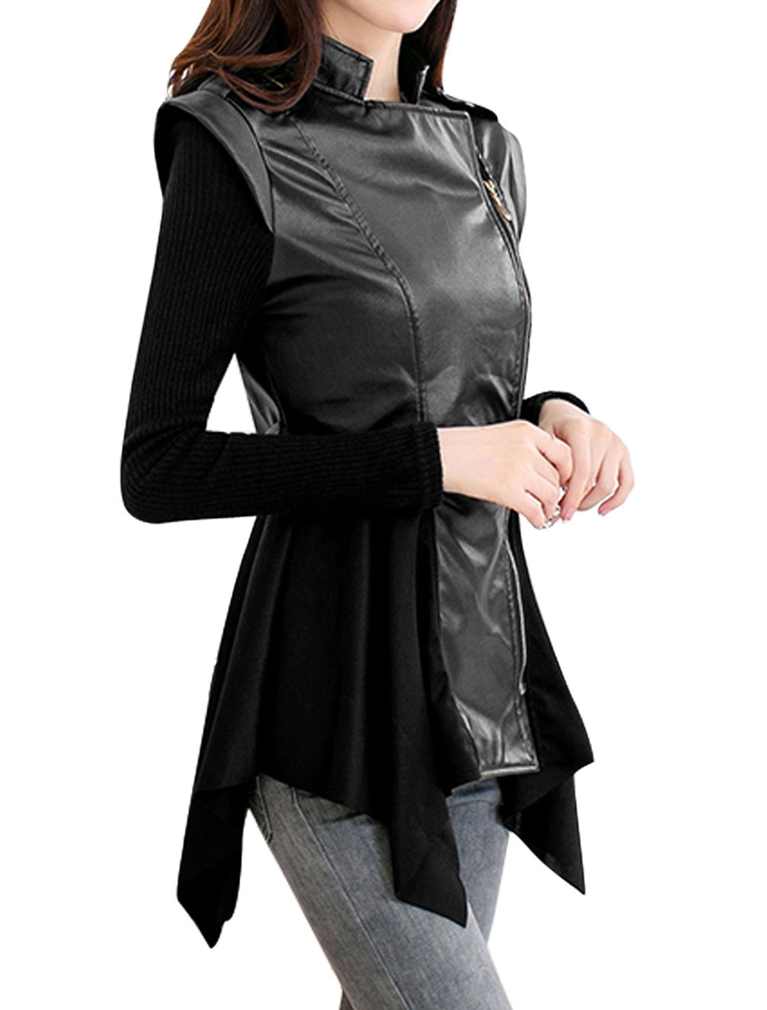 Ladies Black Stand Collar Long Sleeves Zippered Front Splice Casual Jacket S