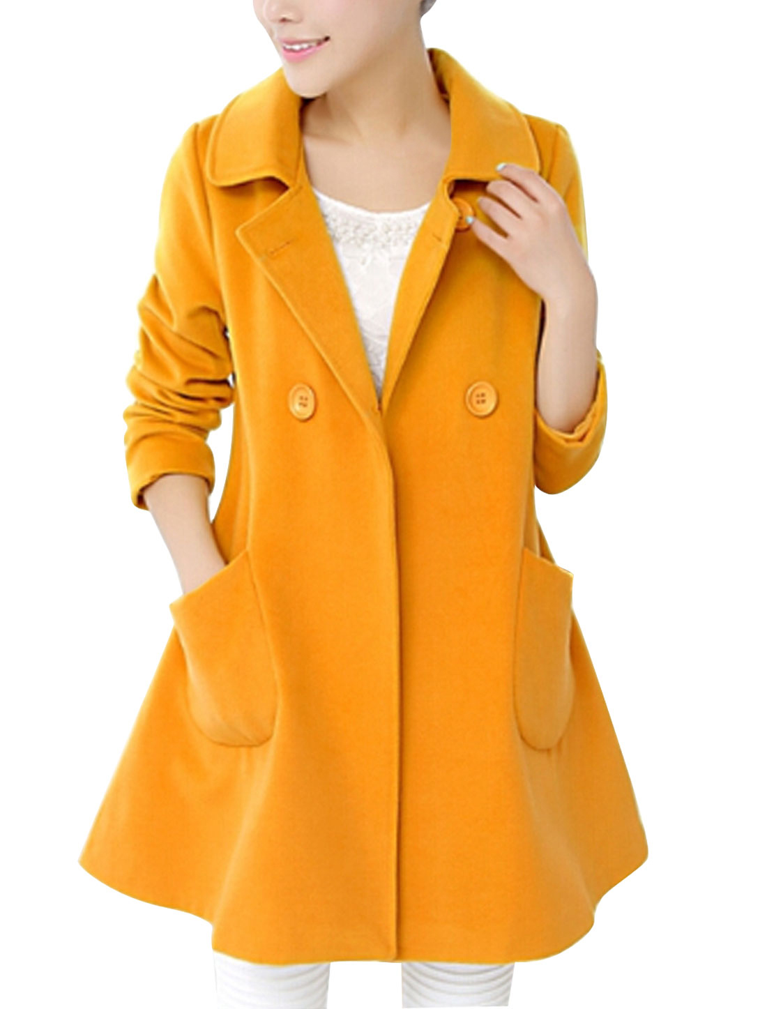 Lady Notched Lapel Double Breasted Cozy Fit Worsted Coat Yellow M