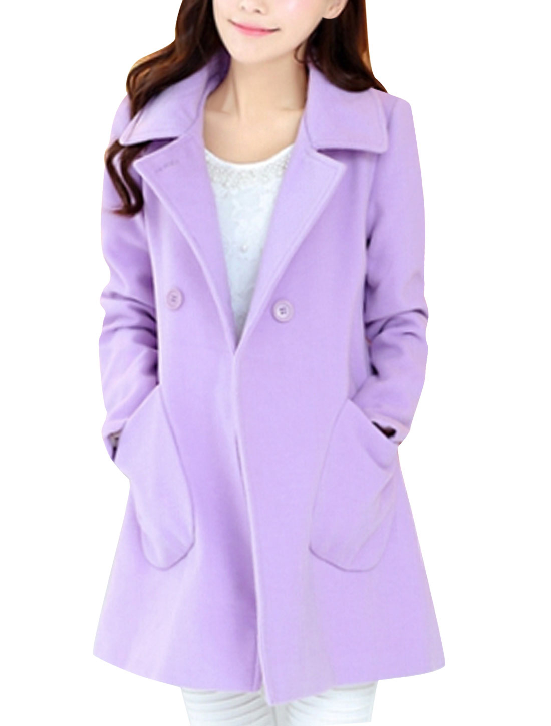 Lady Notched Lapel Double Slant Pocket Worsted Coat Lavender M