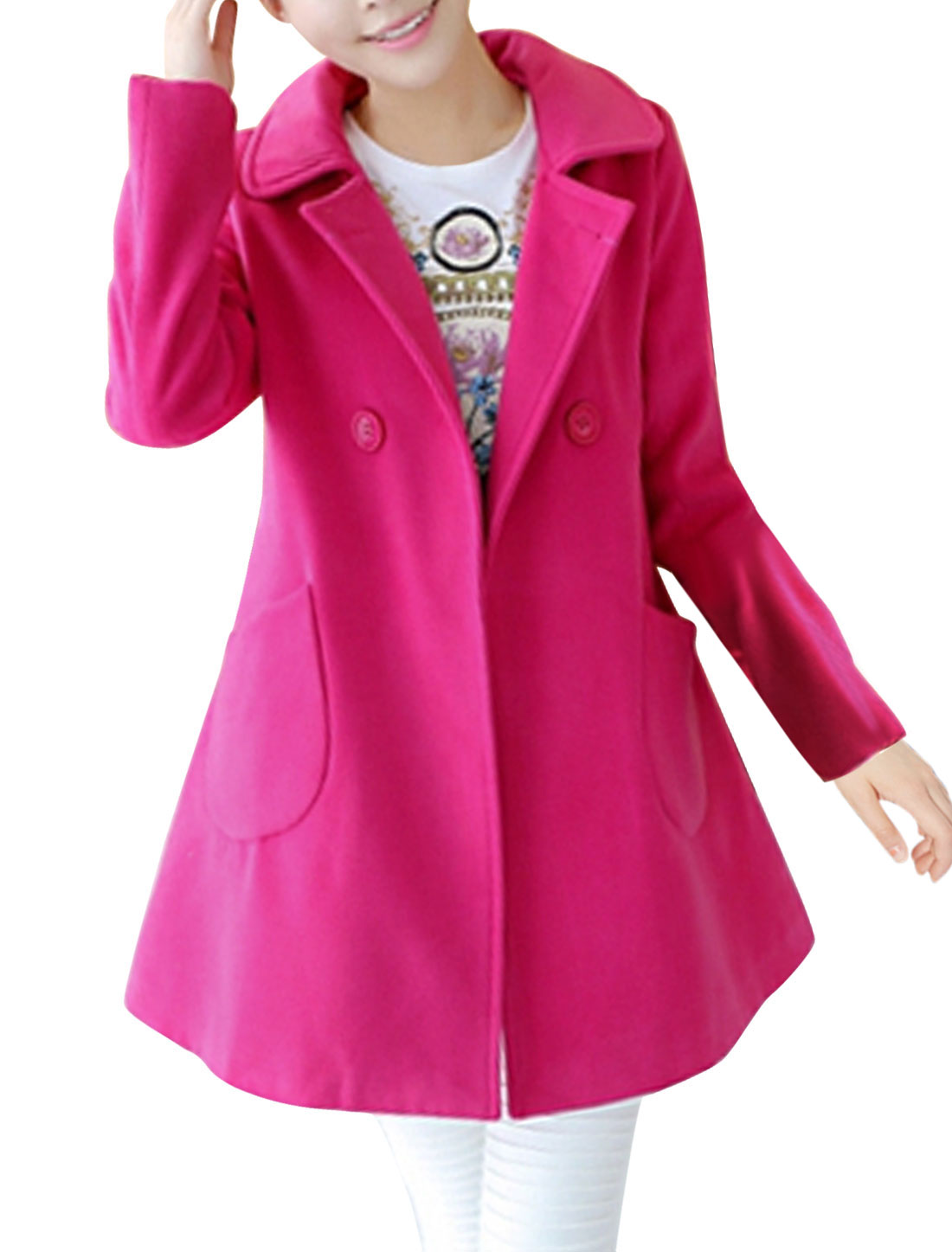 Lady Double Breasted Double Slant Pocket Front Leisure Worsted Coat Fuchsia M