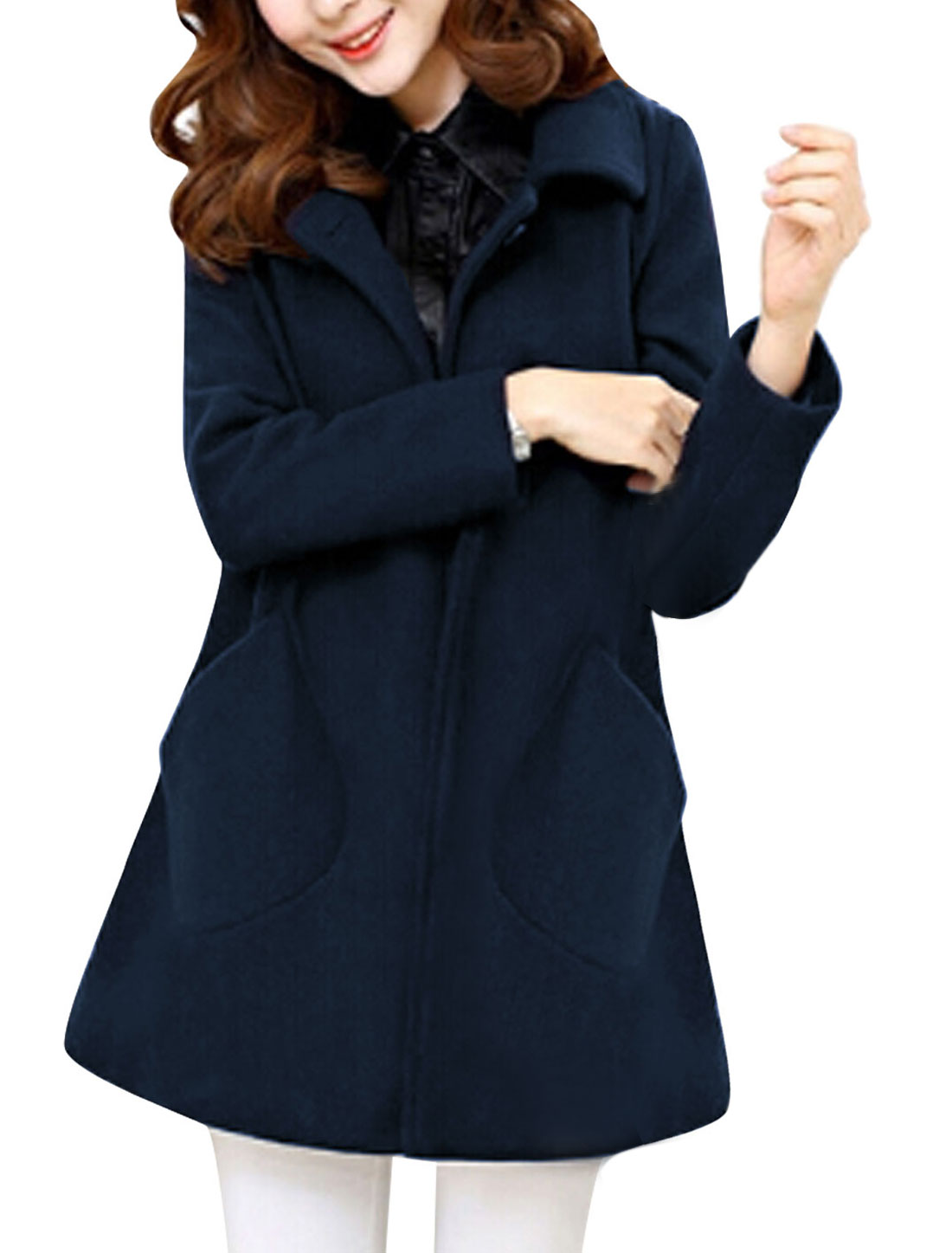 New Style Notched Lapel Double Breasted Fashion Worsted Coat for Lady Navy Blue M