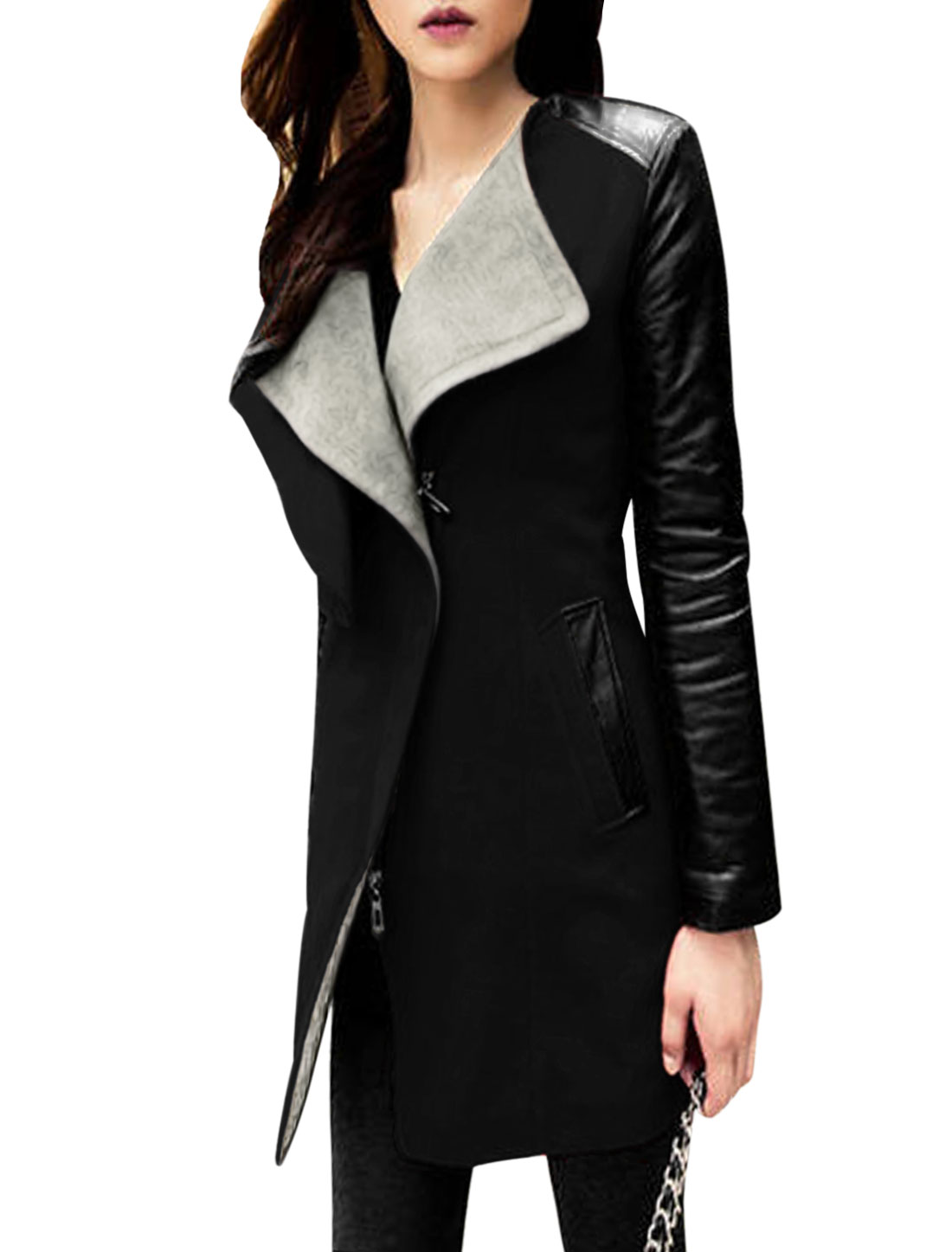 Lady Two Layer Collar Zip Up Fashion Casual Worsted Coat Black S