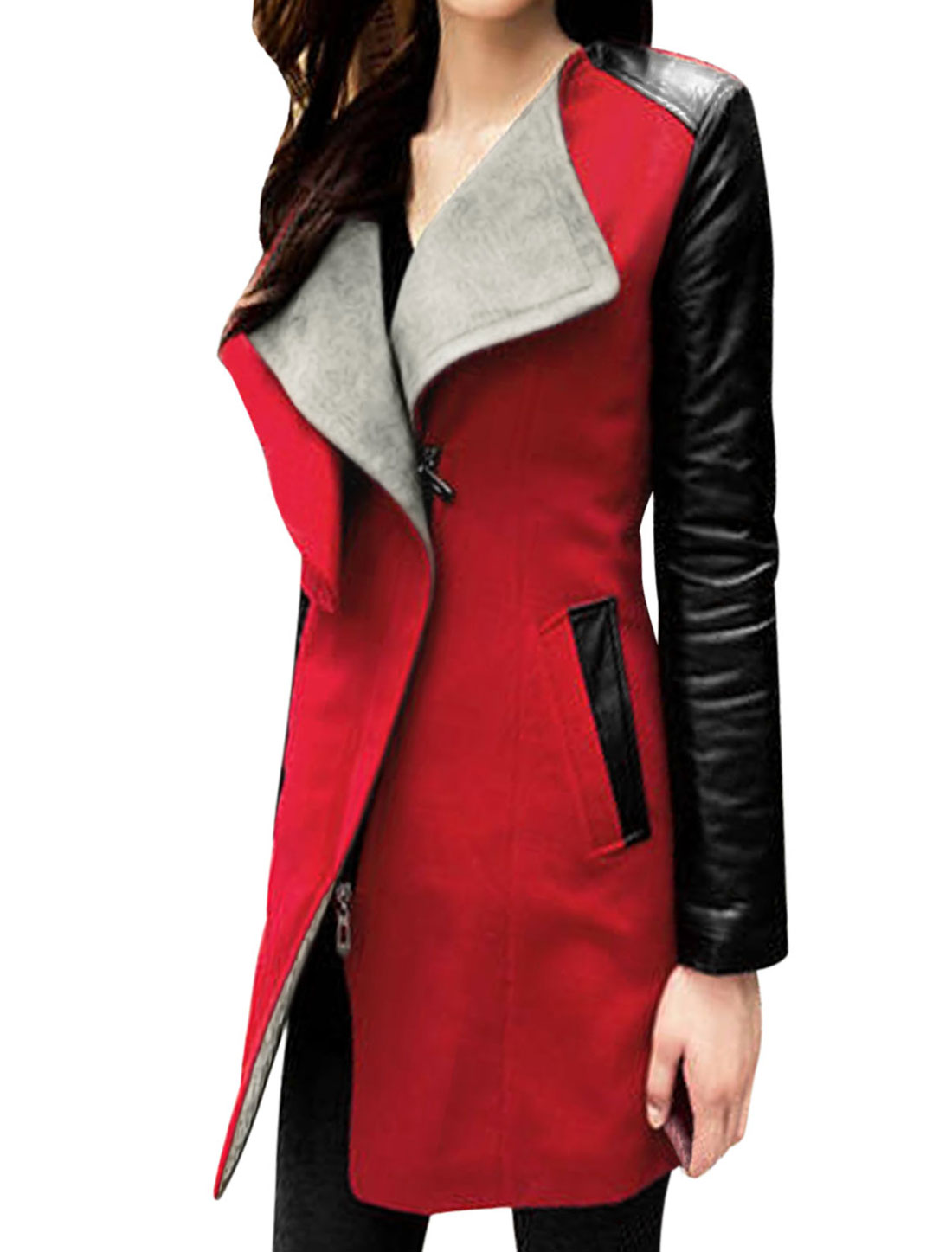 Lady Imitation Leather Panel Zip Up Leisure Worsted Coat Red Black S