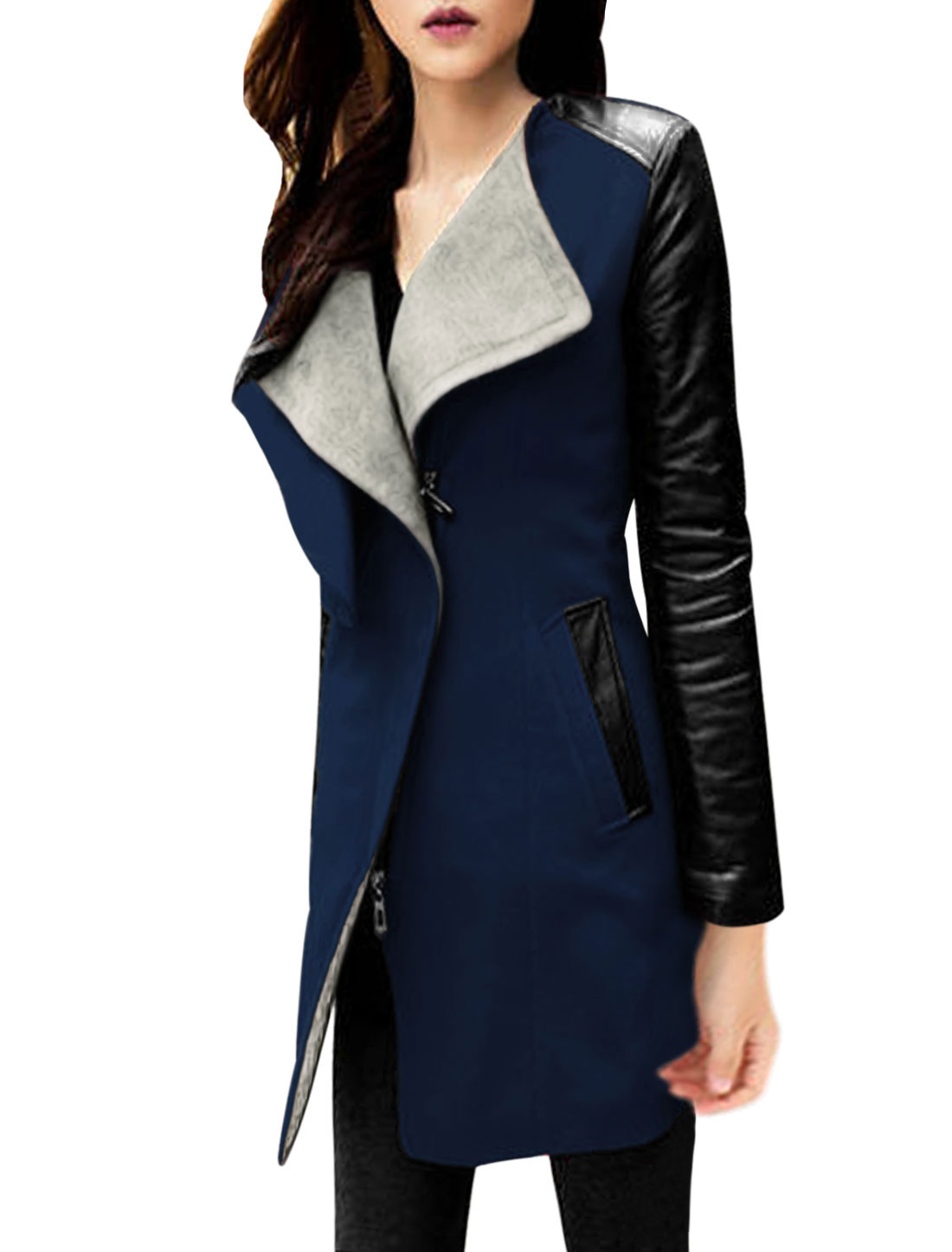 Cozy Fit Two Layer Collar Casual Worsted Coat for Lady Navy Blue Black S