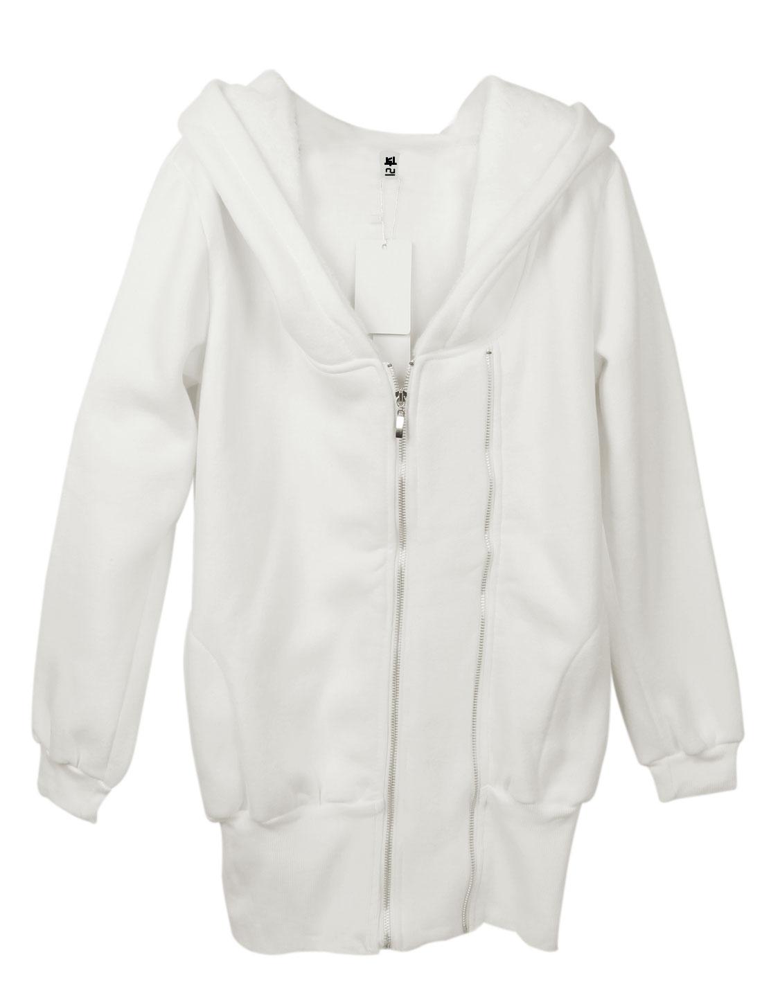 Women Zipper Closure Front Long Sleeve Casual Long Hoodie White S