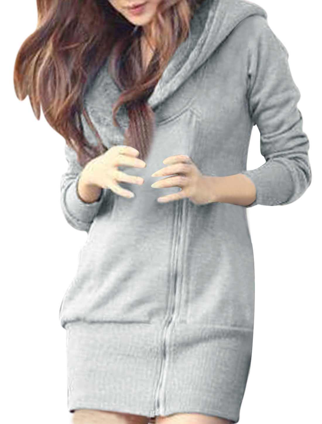 Lady Zip Up Double Pockets Ribbed Hem Long Hoodie Light Gray S