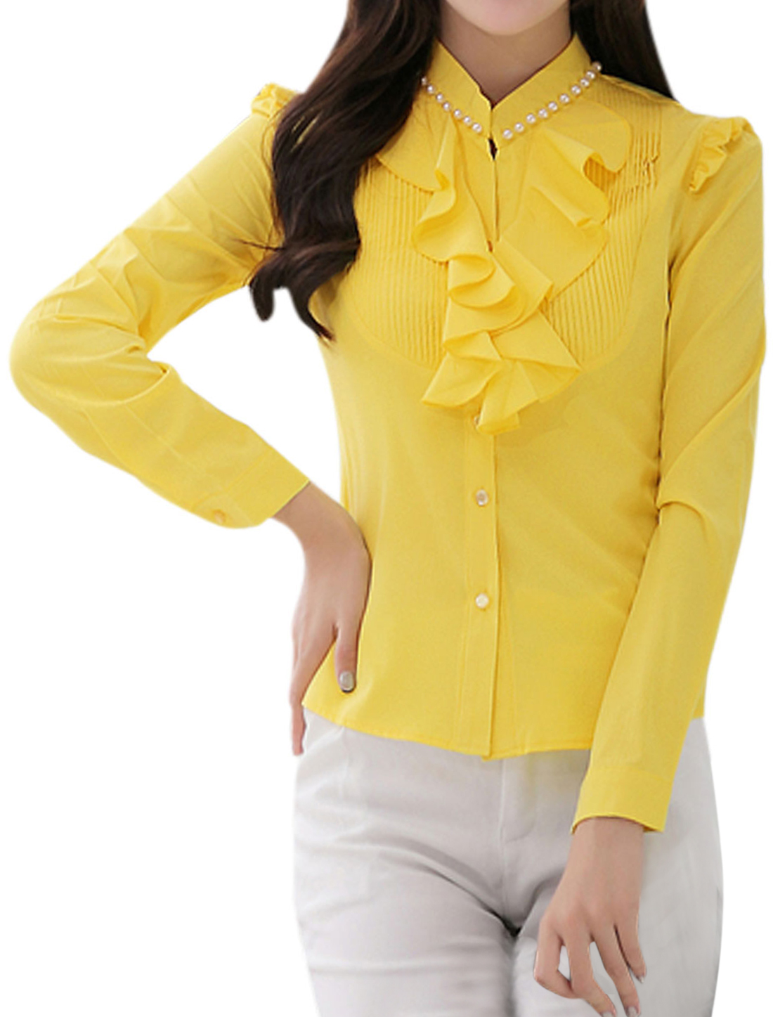 Women Stand Collar Ruffled Front Button Down Shirt Yellow M