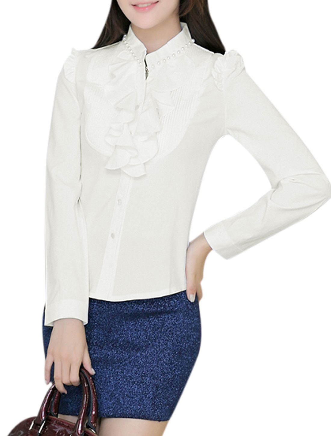 Ladies Pleated Detail Long Sleeves Stylish White Shirt M