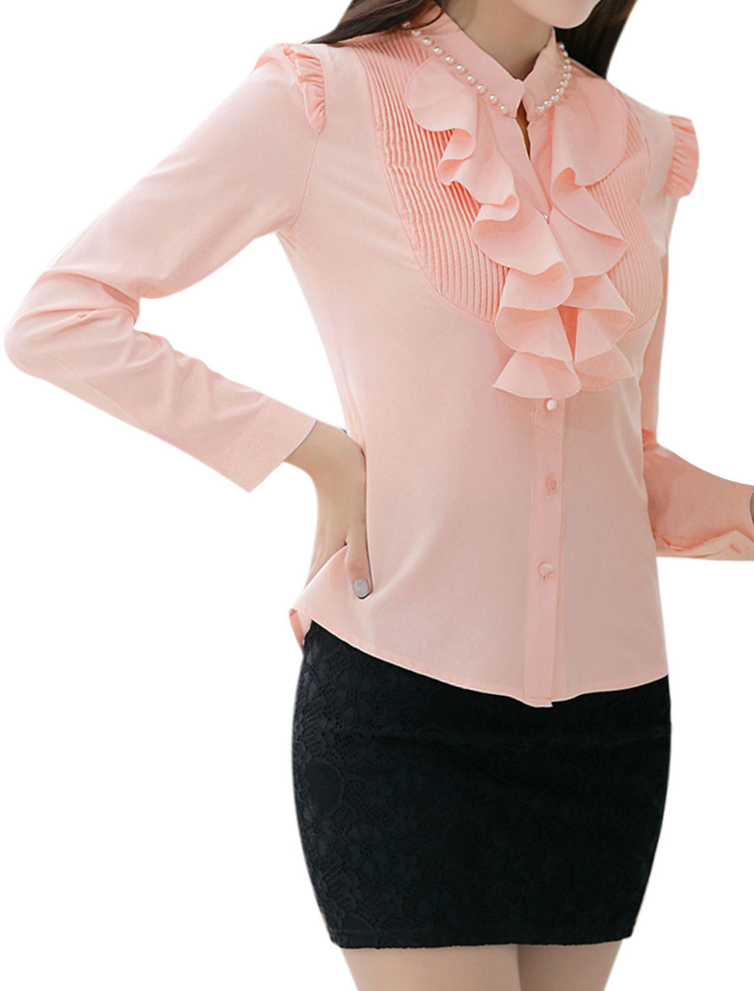 Beads Decor Detail Button Cuffs Pink Shirt for Lady M