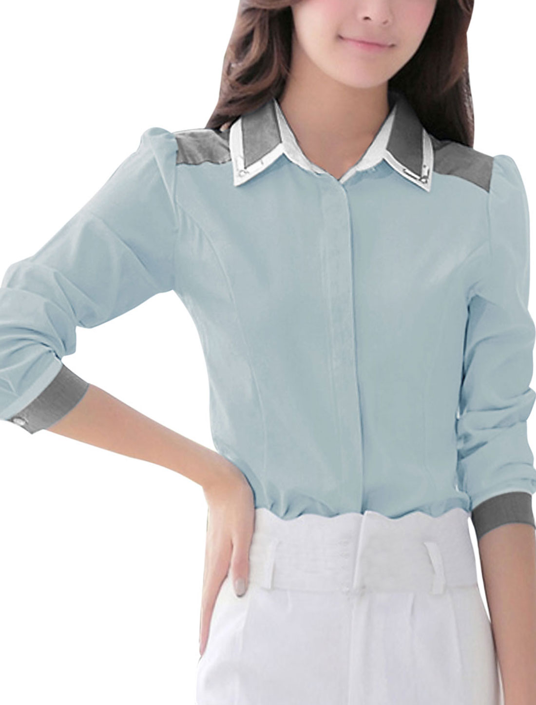 Women Point Collar Long Sleeves Color Block Shirt Cool Gray M