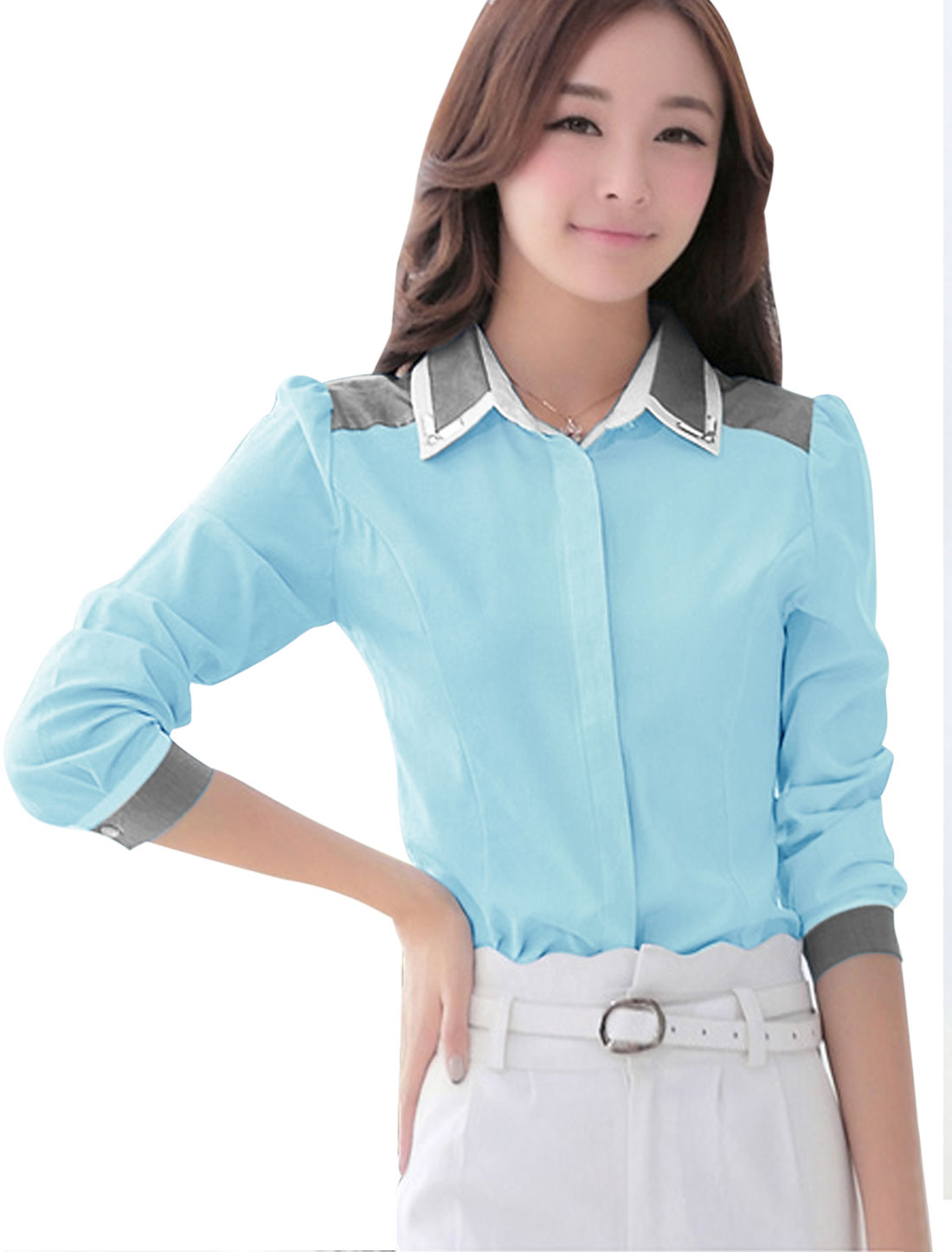Ladies Single Breasted Button Cuffs Long Sleeves Light Blue Shirt M