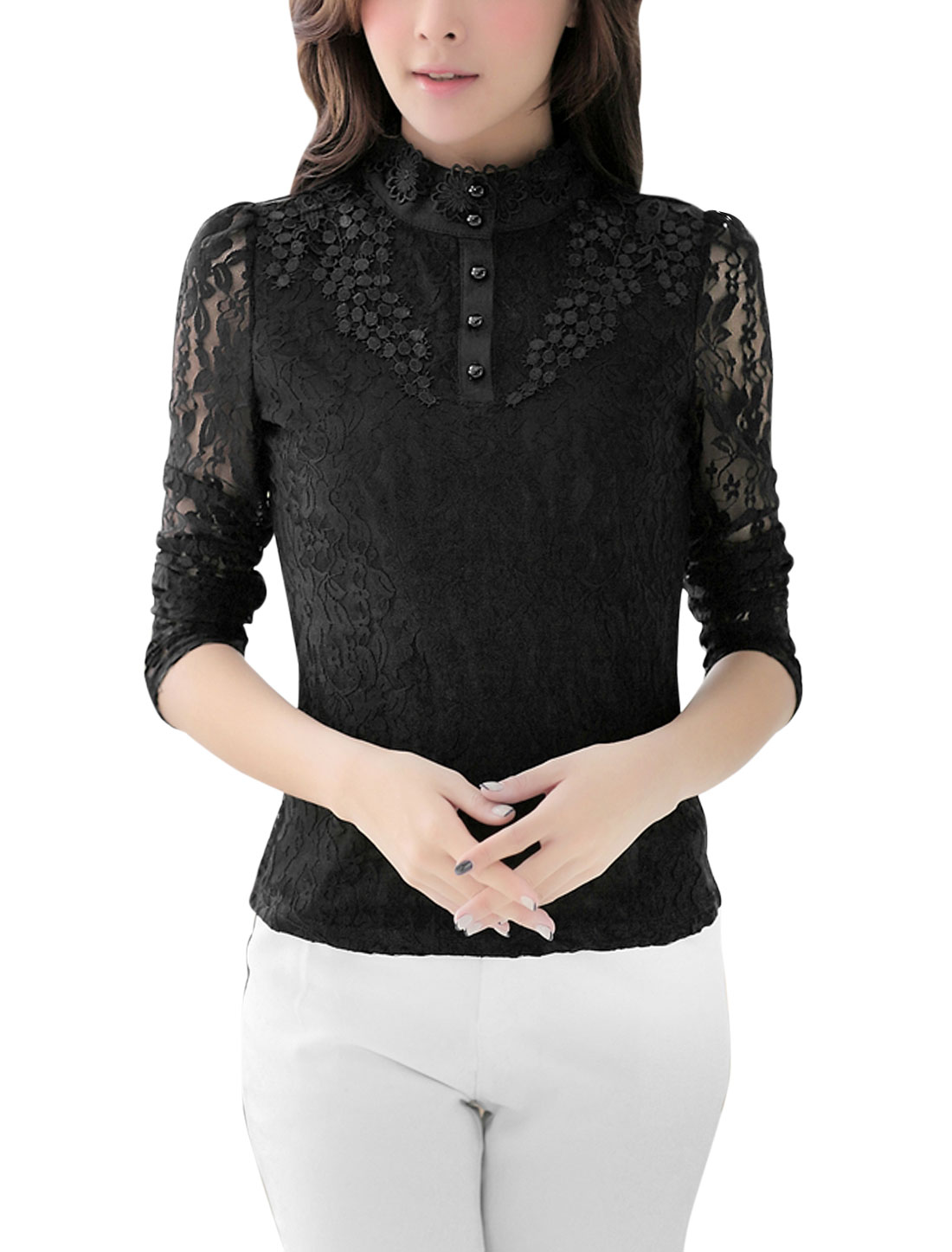 Women Stand Collar Crochet Flower Decor Lace Shirt Black L