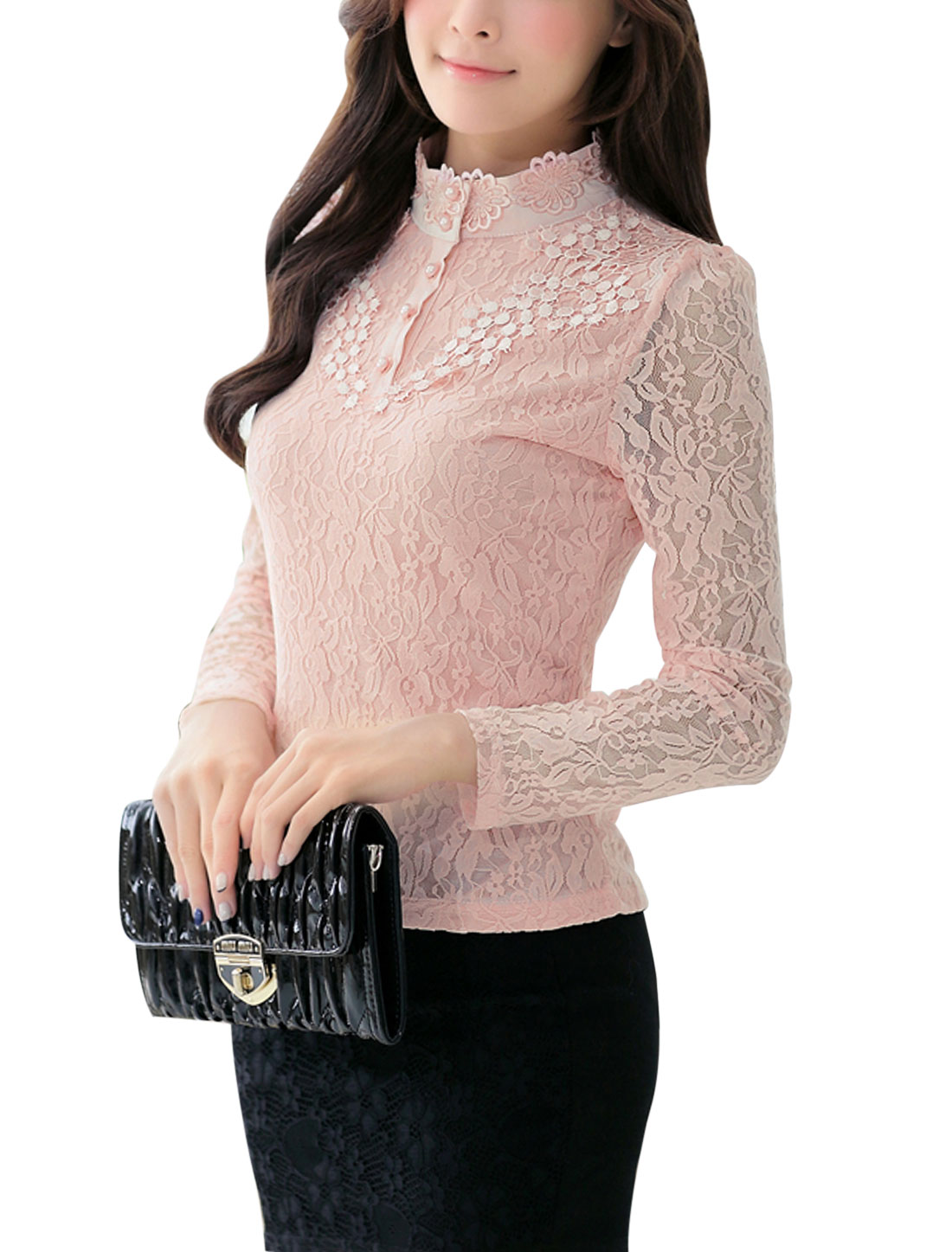 Ladies Semi Sheer Long Sleeves Pullover Slim Fit Pink Lace Shirt L