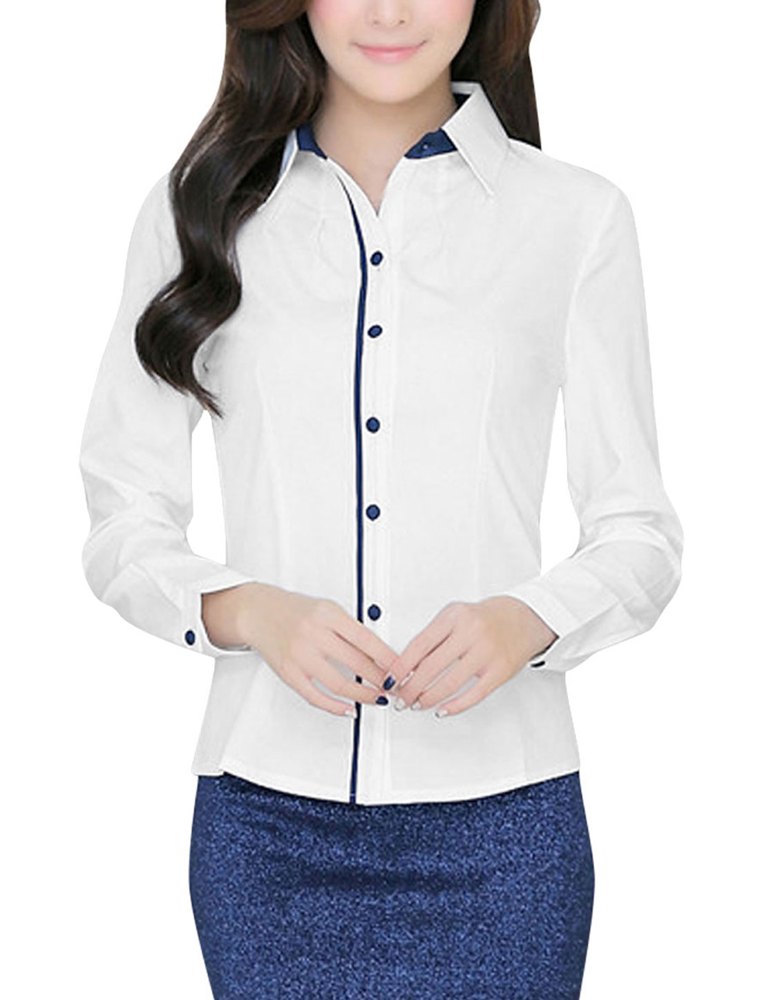 Women Point Collar Long Sleeves Button Down Shirt White M