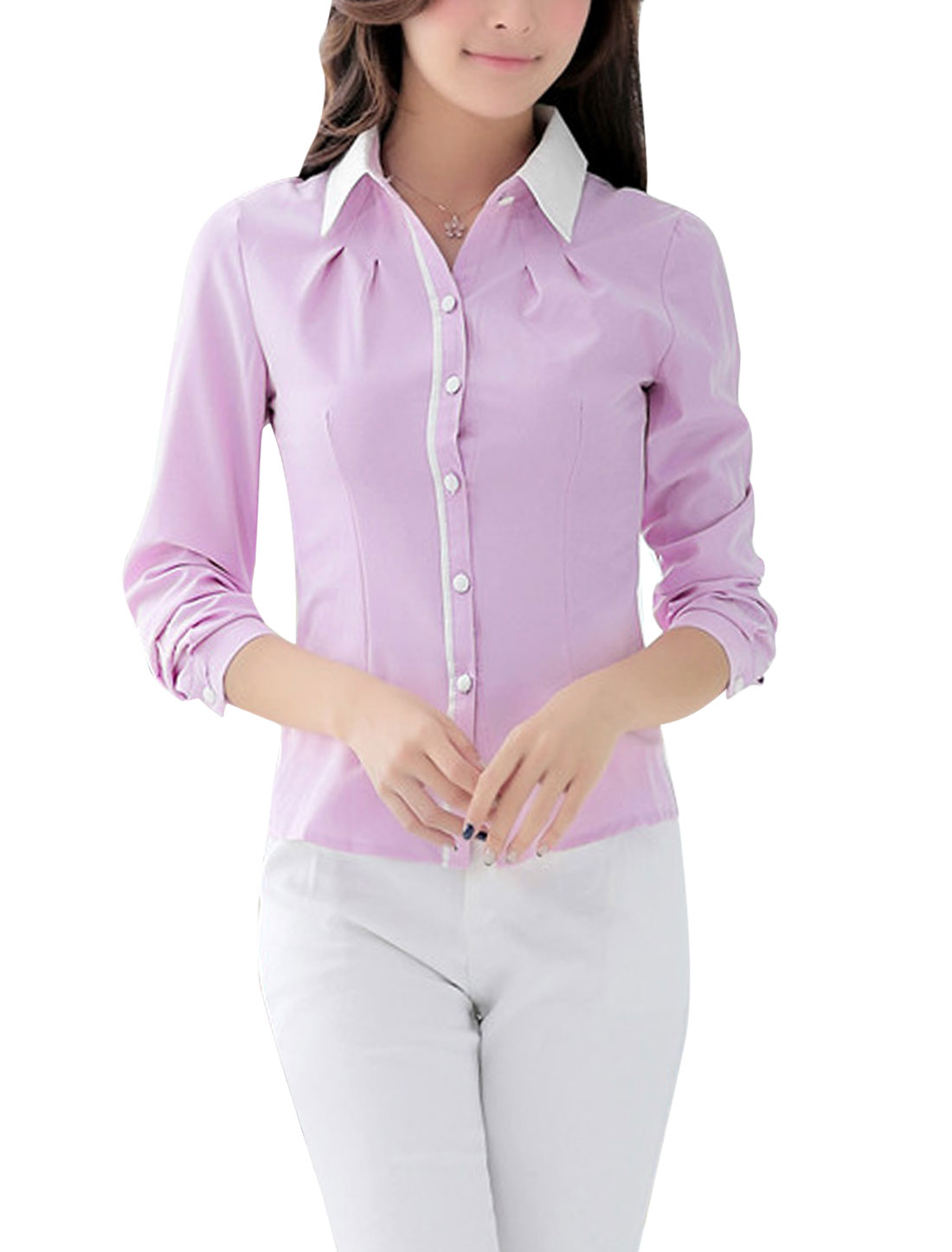 Button Closure Front Point Collar Light Purple Shirt for Lady M