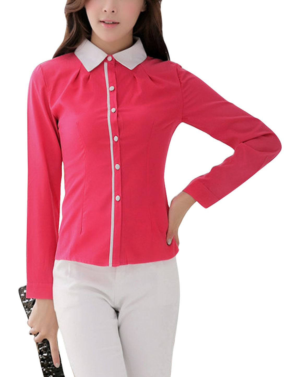 Ladies Pleated Detail Single Breasted Front Fuchsia Shirt M