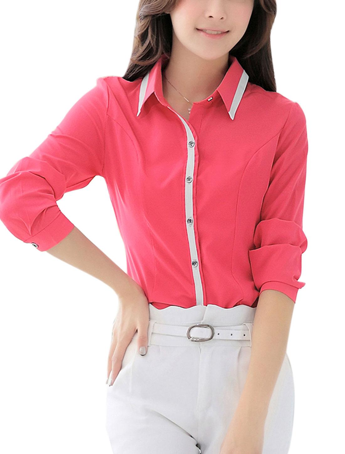 Ladies Slim Fit Point Collar Button Up Fuchsia Shirt M