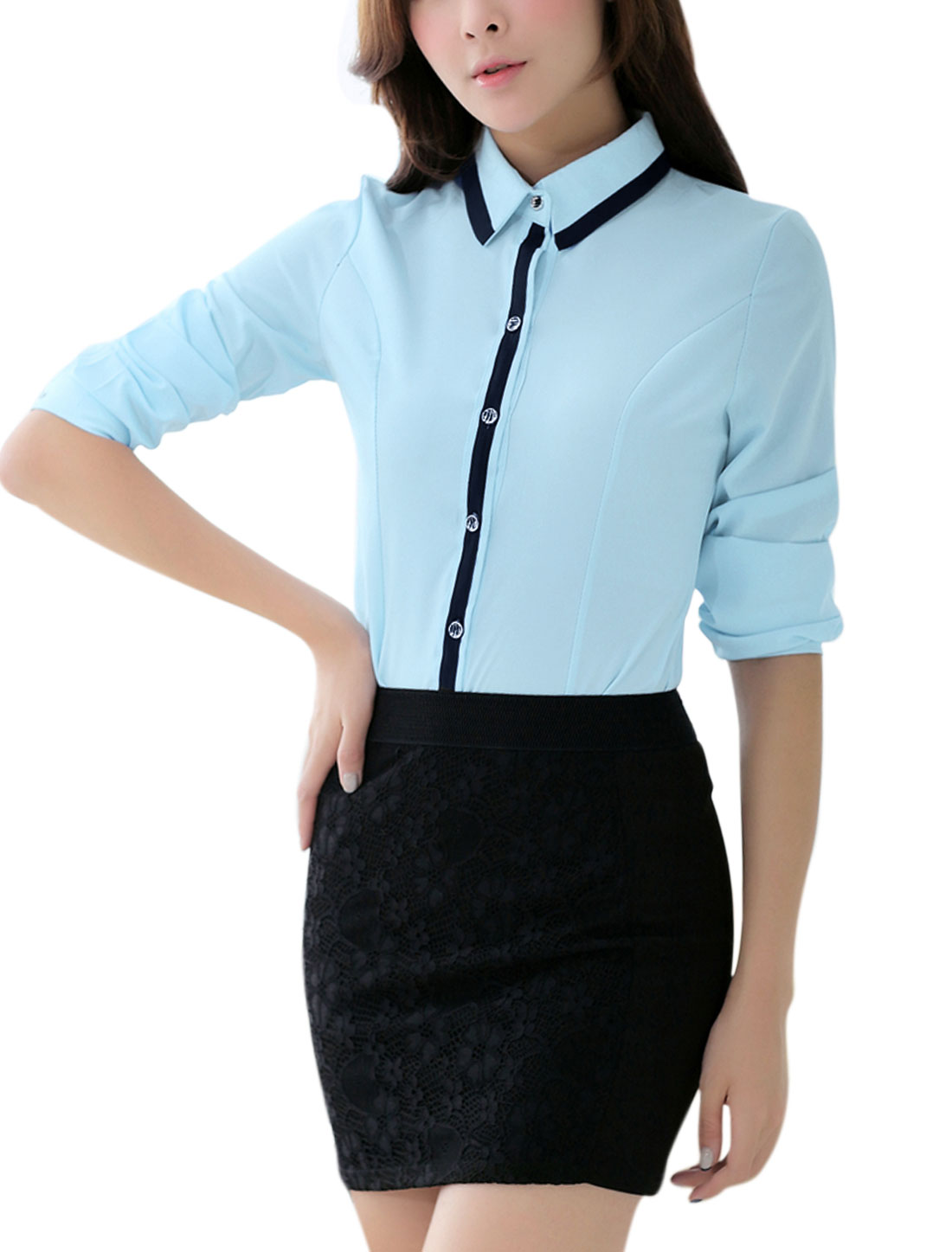 Single Breasted Button Cuffs Light Blue Shirt for Women M