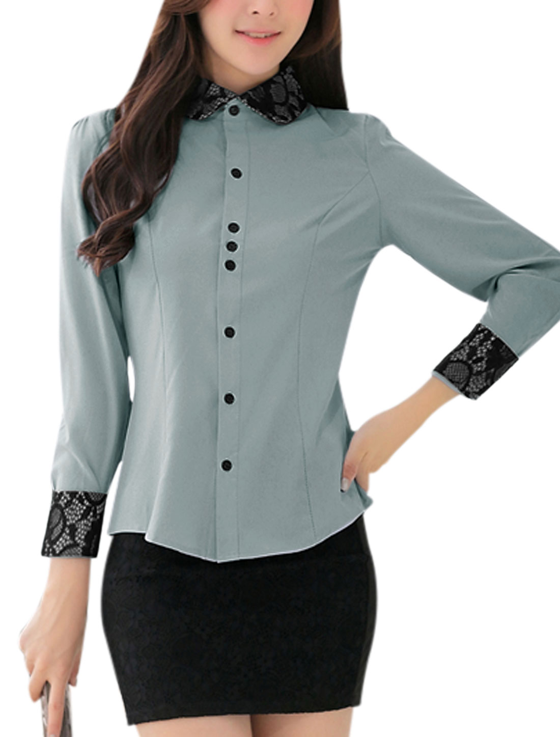 Ladies Single Breasted Long Sleeves Lace Spliced Cool Gray Shirt M