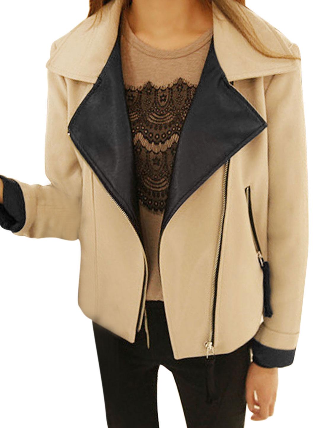 Lady Notched Lapel Zip Up Two Zipper Slant Pocket Casual Jacket Khaki S