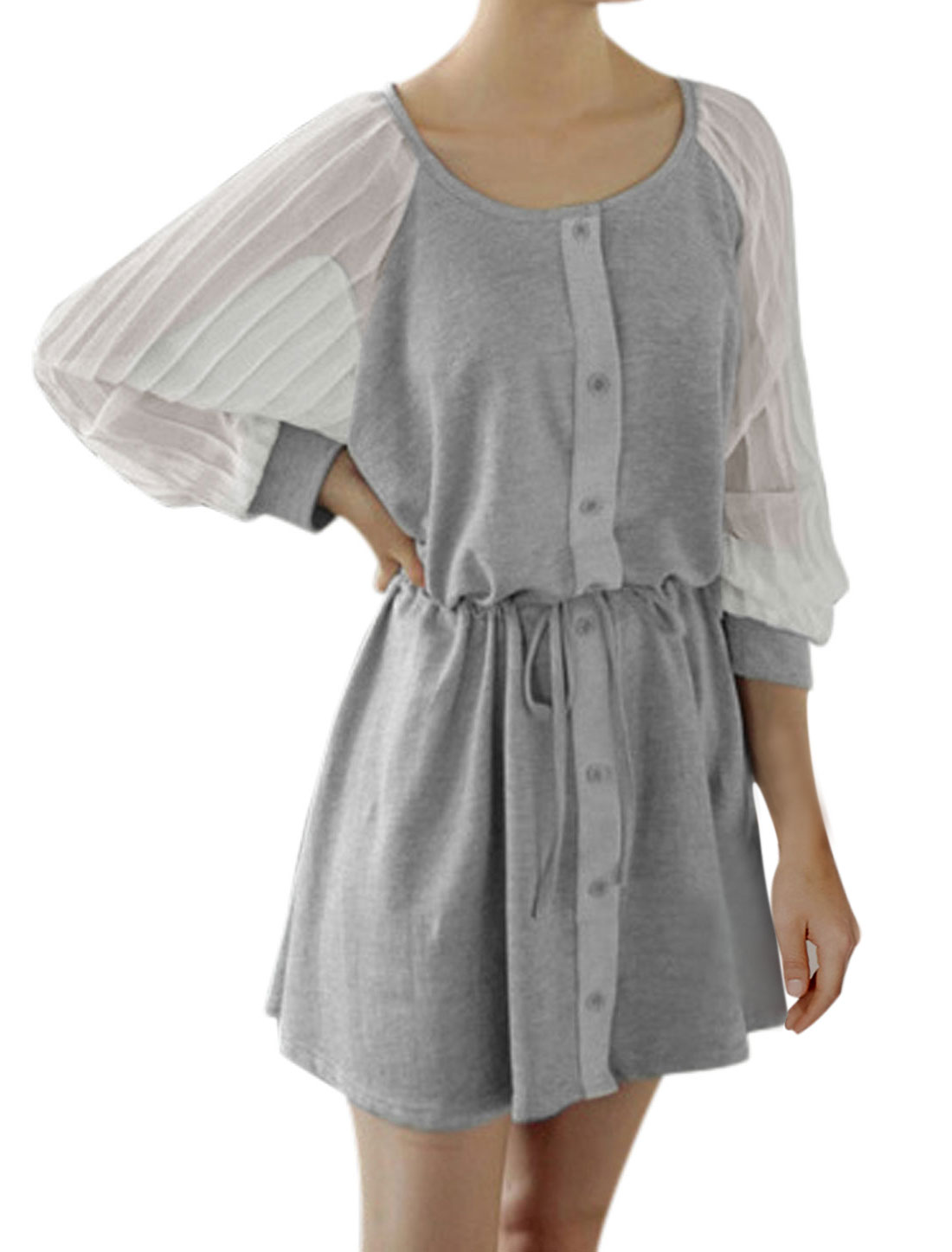 Lady Batwing Sleeve Single Breasted Casual Tunic Dress Light Gray XS