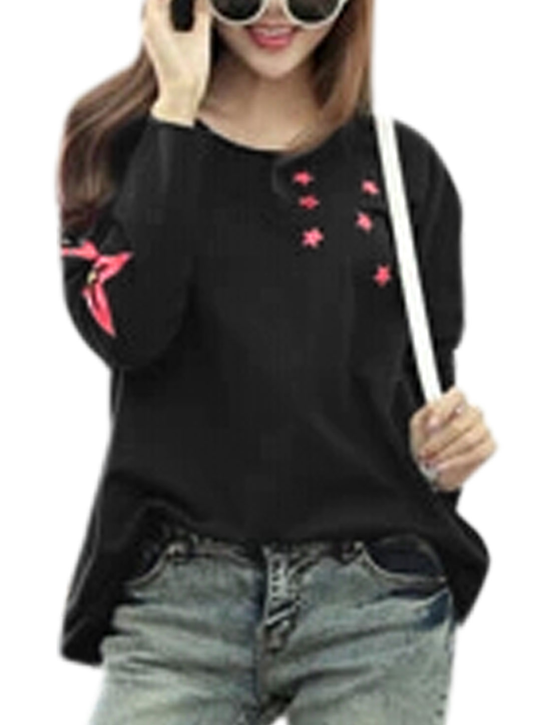 Lady Stars Pattern Cut Out Back Design Casual Blouse Black S