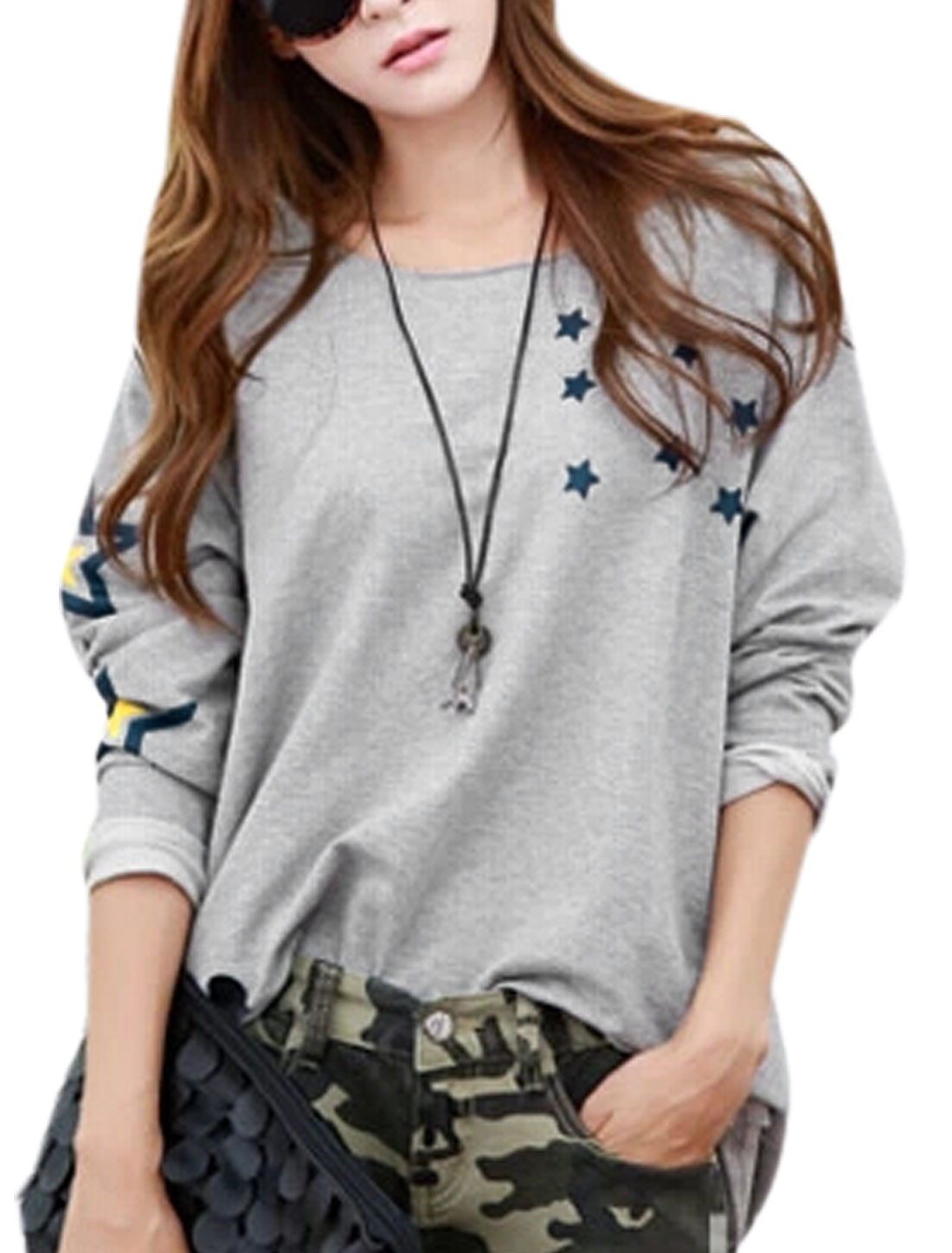 Lady Round Neck Long Sleeve Stars Pattern Cozy Fit Blouse Light Gray S