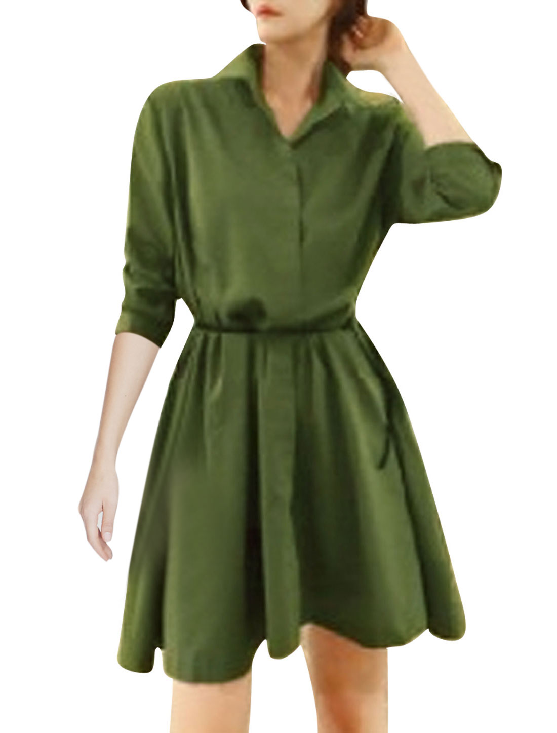 Lady Point Collor 3/4 Sleeve Button Closure Trench Coat w Belt Army Green S
