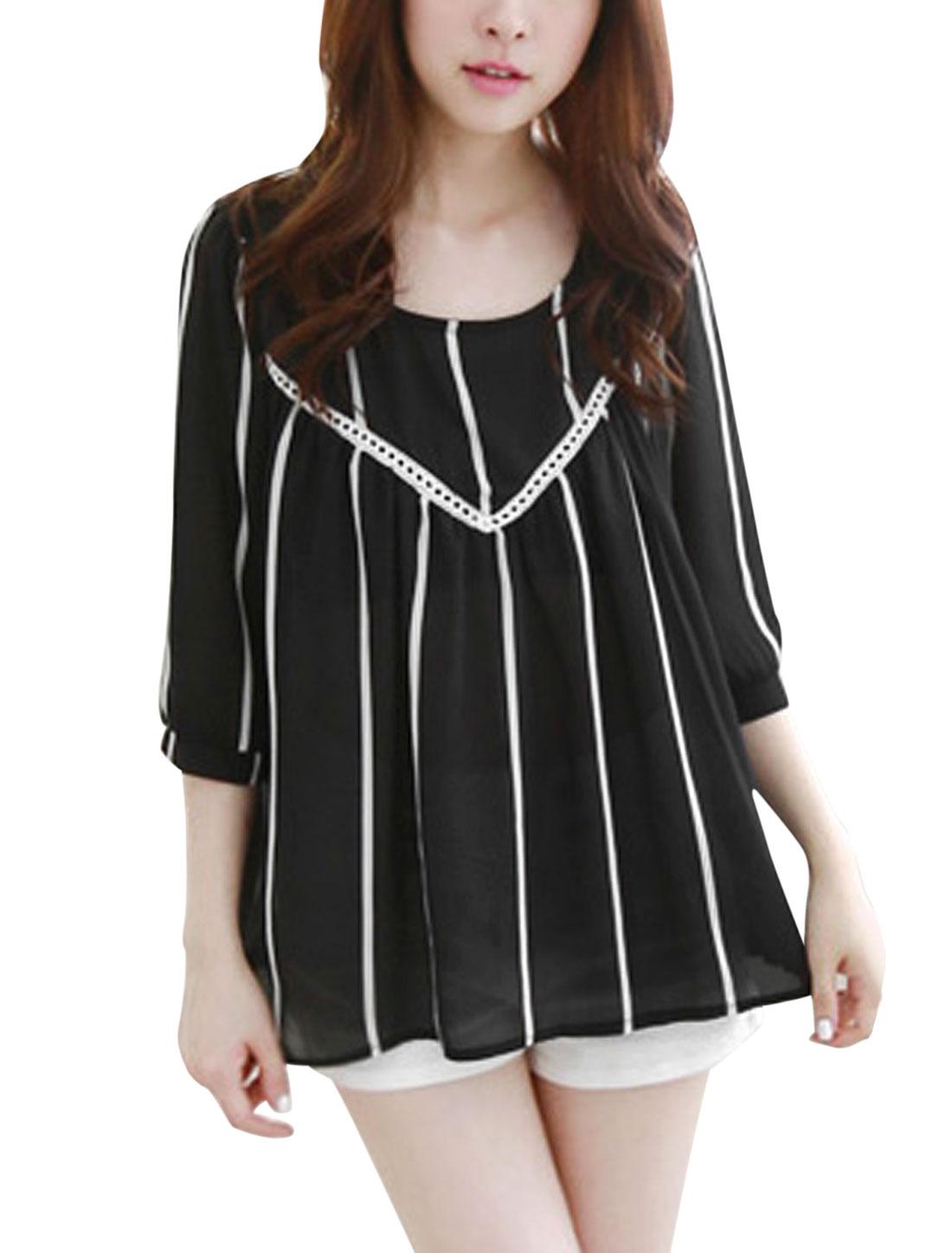 Women Stripes 3/4 Sleeve Semi Sheer Casual Loose Chiffon Top Black XS