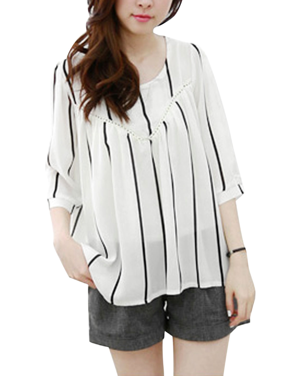 Lady Pullover Vertical Stripes 3/4 Sleeve Leisure Chiffon Top White XS