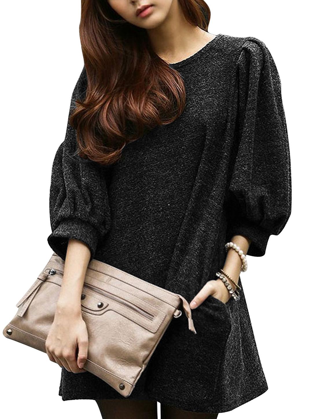 Lady Round Neck 3/4 Sleeve Double Slant Pockets Mini Dress Ebony M