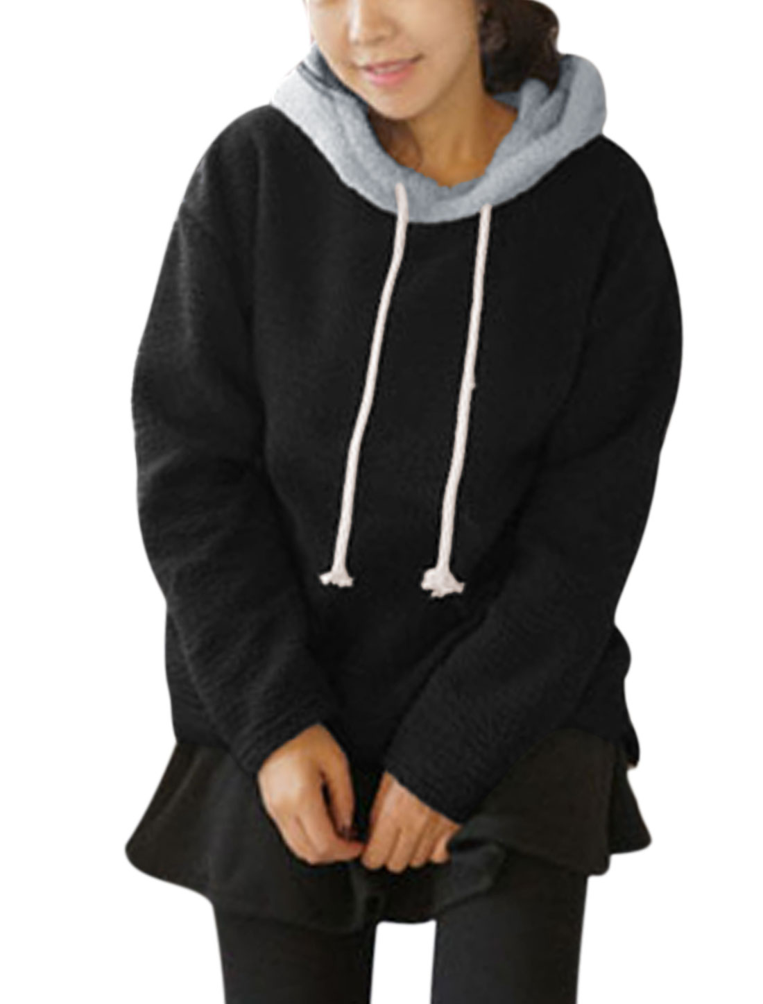 Women Drawstring Hood Split Side Long Sleeve Casual Loose Hoodie Black M