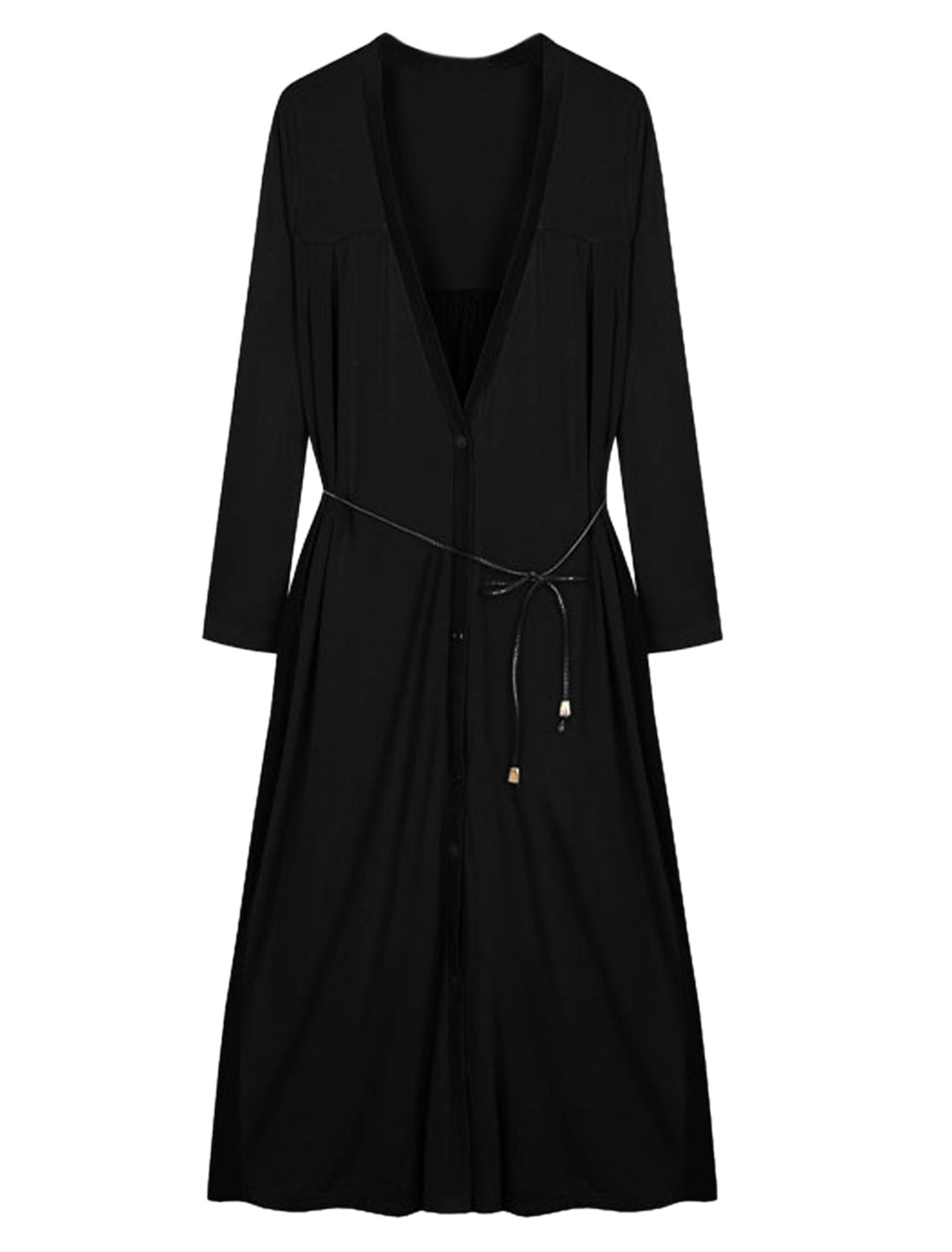 Lady V Neckline Design Chiffon Spliced Long Cardigan w Waist String Black S