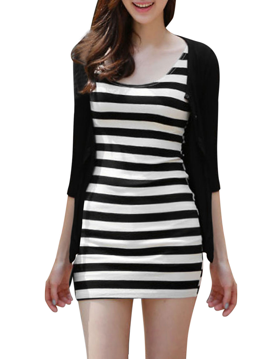 Ladies Black Round Neck 3/4 Sleeves Single Breasted Top w Stripes Dress M