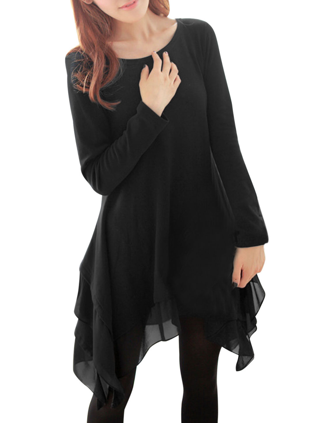 Ladies Black Long Sleeves Round Neck Asymmetrical Hem Splice Casual Dress S