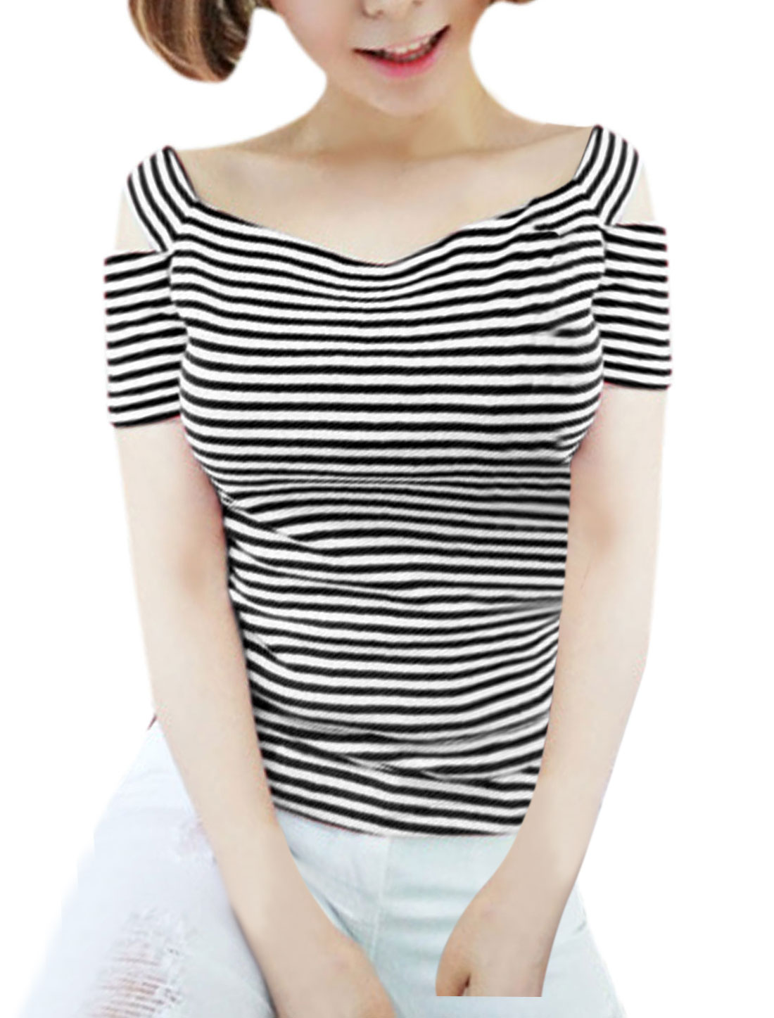 Lady Cut Out Short Sleeve Stripes Casual T-Shirt Black White M