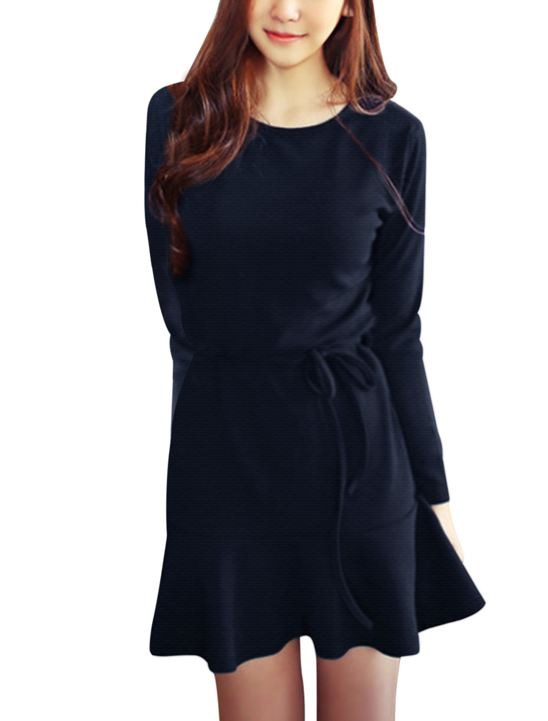 Ladies Navy Blue Round Neck Long Sleeves Pullover w Waist String Short Dress S