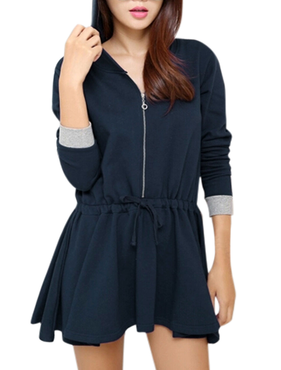 Lady Hooded Long-sleeved Zip Closure Casual Tunic Top Navy Blue S