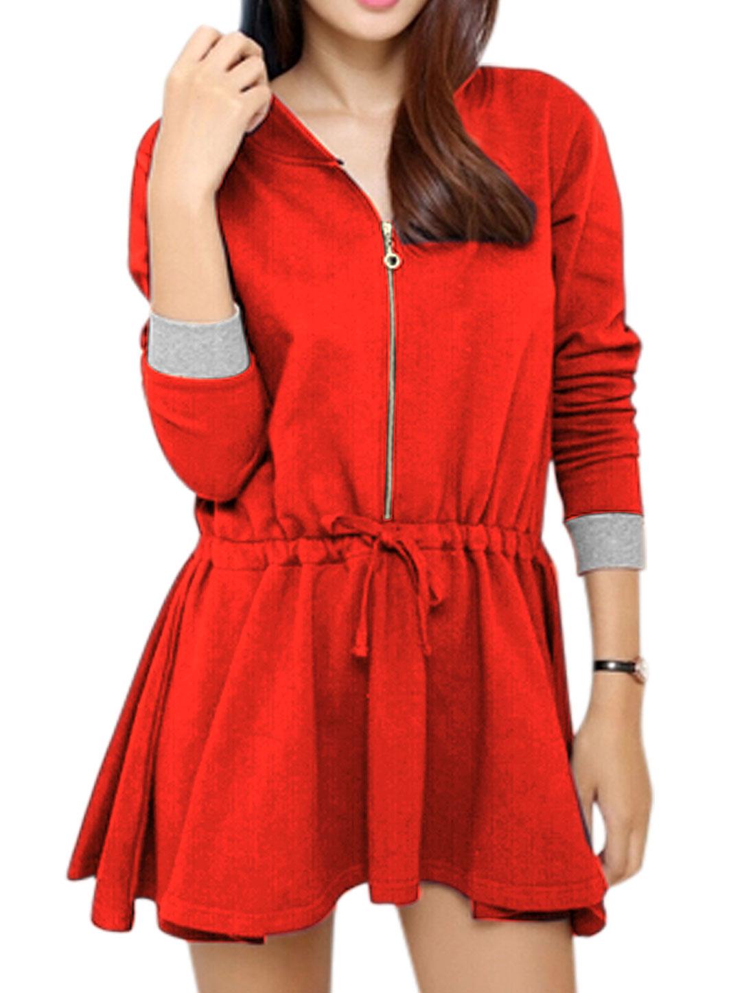 Ladies Hooded Long Sleeve Zip Up Leisure Tunic Top Orange Red S