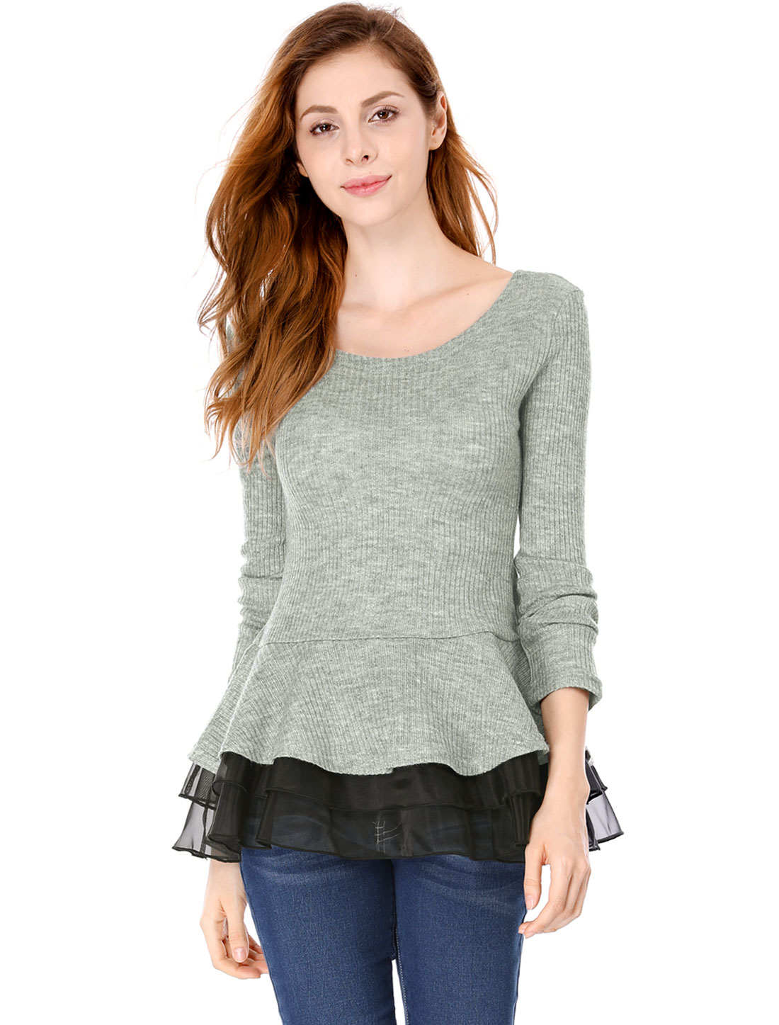 Ladies Light Gray Round Neck Long Sleeves Chiffon Panel Spring Peplum Top M