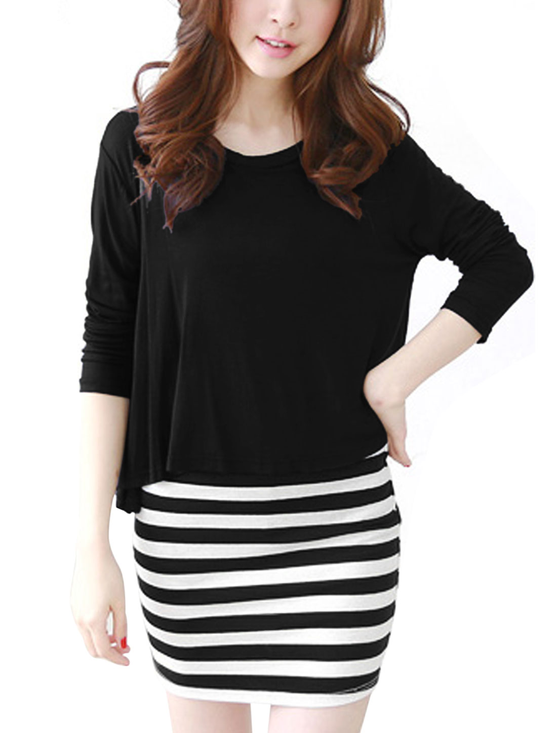 Ladies Black Round Neck Long Sleeves Top w Pullover Stripes Dress S