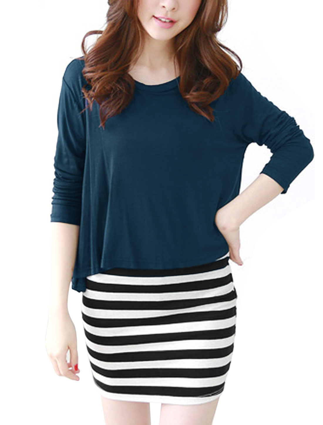Ladies Navy Blue Round Neck Long Sleeves Top w Pullover Stripes Dress S