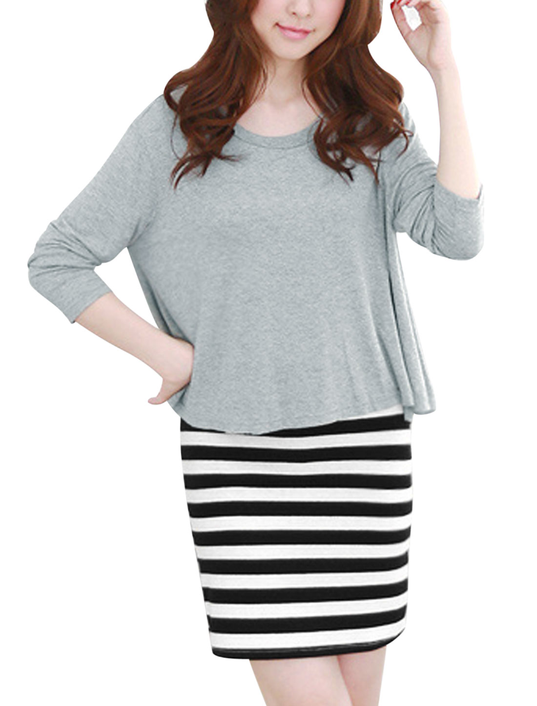 Ladies Light Gray Round Neck Long Sleeves Top w Stripes Dress S