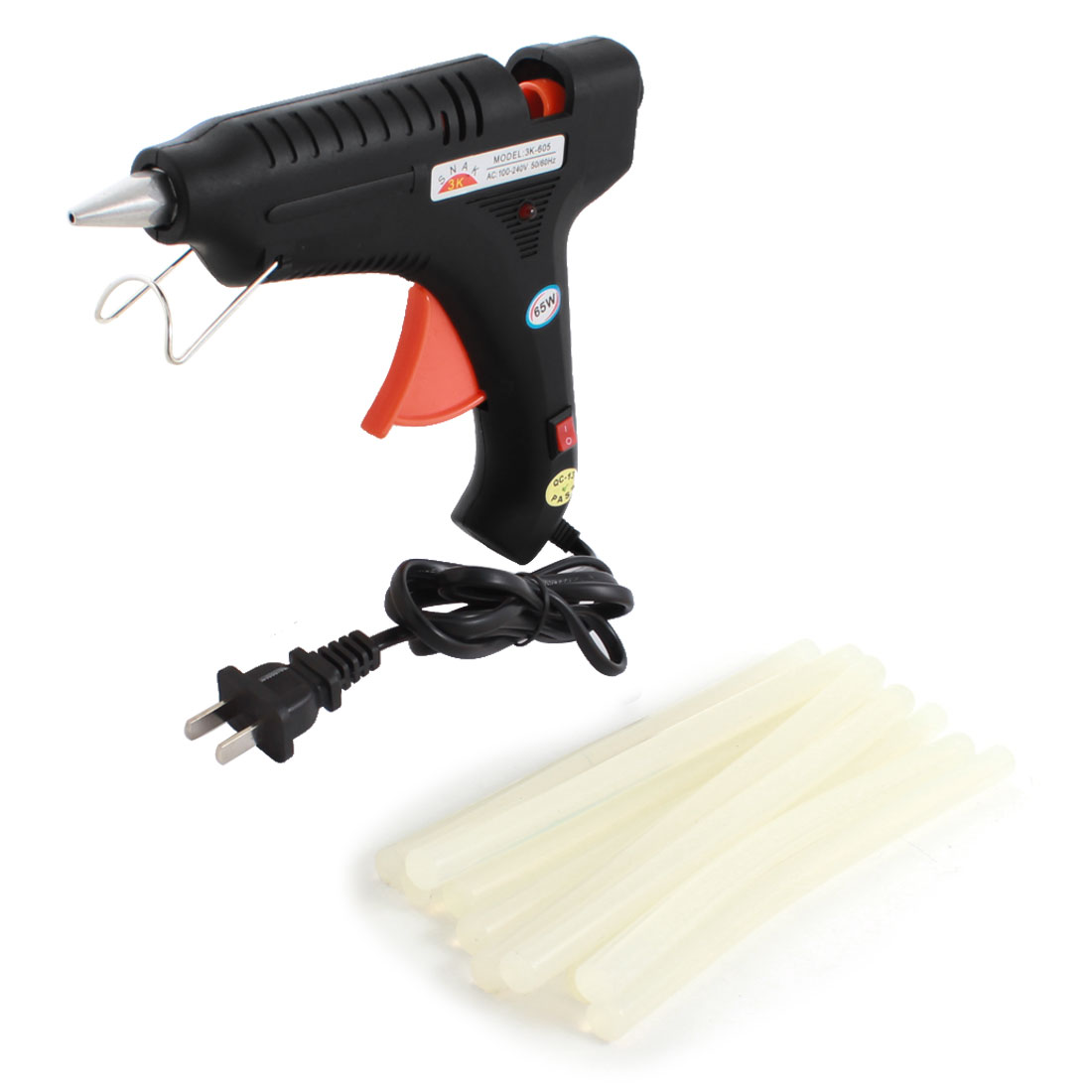 AC100V-240V US Plug Plastic Shell Arts Craft Crafting 65W Black Glue Gun + 10Pcs 11x200mm Hot Melt Adhesive Sticks