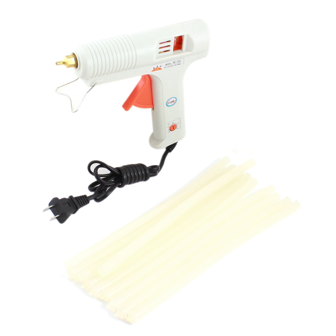 AC100V-240V US Plug Plastic Shell Arts Craft Crafting 110W Gray Glue Gun + 10Pcs 11x300mm Hot Melt Adhesive Sticks