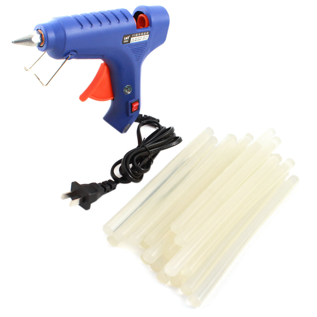 AC100V-240V US Plug Plastic Shell Arts Craft Crafting 60W Blue Glue Gun + 20Pcs 11x200mm Hot Melt Adhesive Sticks