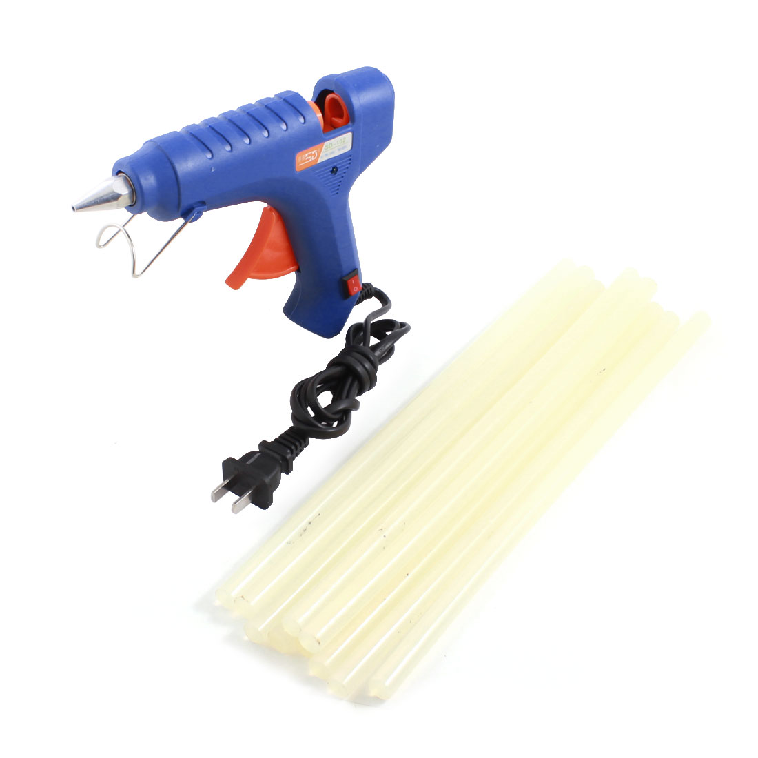 AC100V-240V US Plug Plastic Shell Arts Craft Crafting 60W Blue Glue Gun + 10Pcs 11x300mm Hot Melt Adhesive Sticks