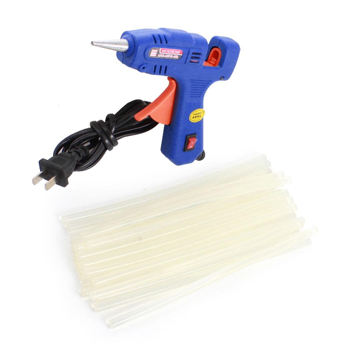 AC100V-240V US Plug Plastic Shell Arts Craft Crafting 20W Blue Glue Gun + 20Pcs 7x200mm Hot Melt Adhesive Sticks