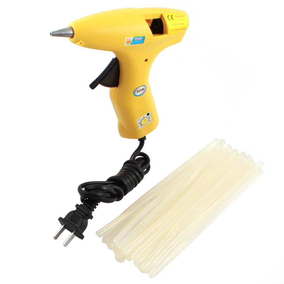 AC100V-240V US Plug Plastic Shell Arts Craft Crafting 30W Yellow Glue Gun + 20Pcs 7x180mm Hot Melt Adhesive Sticks