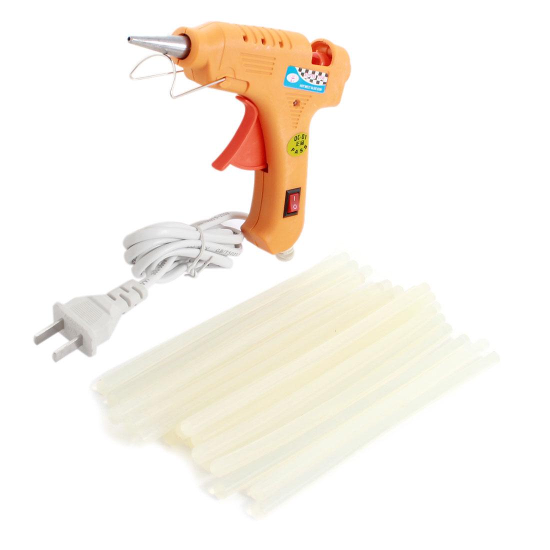 AC100V-240V US Plug Plastic Shell Arts Craft Crafting 20W Yellow Glue Gun + 20Pcs 7x200mm Hot Melt Adhesive Sticks
